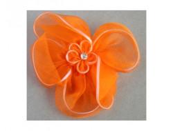 Broche fleur orange en mousseline