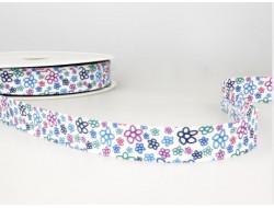 Biais imprimé fleuri turquoise et fuchsia