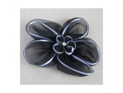 Broche fleur noir en mousseline
