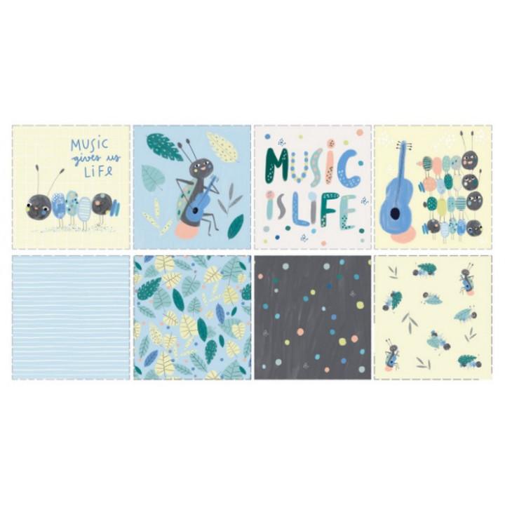 Coupon Tissu popelin Ants & Music, Katia fabrics