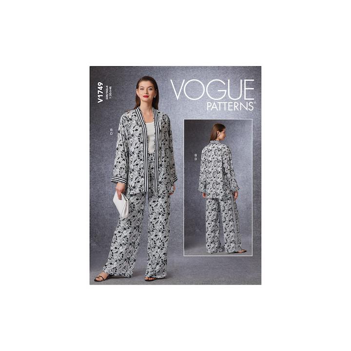 Patron Gilet , veste et pantalon femme - Vogue 1749