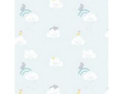 Tissu popeline Sky cloud rhinos Katia Fabrics