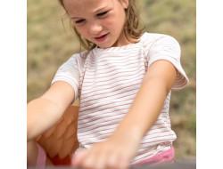 Tissu slub jersey stripes hazelnut Katia Fabrics