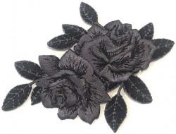Écusson thermocollant Fleur noire