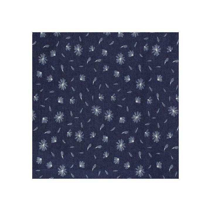 Tissu coton denim flower