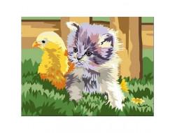 Kit canevas Le chaton et le poussin