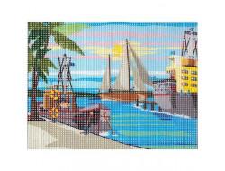 Kit canevas Bateaux au port