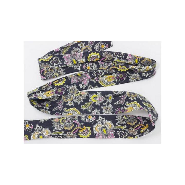 Ruban tubulaire en tissu foulard marine 5 cm