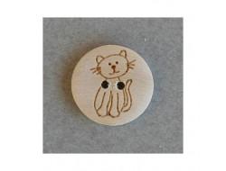 Bouton bois chat