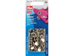 Boutons pression Jersey argent 10 mm, recharge