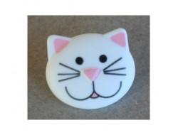 Bouton chat blanc