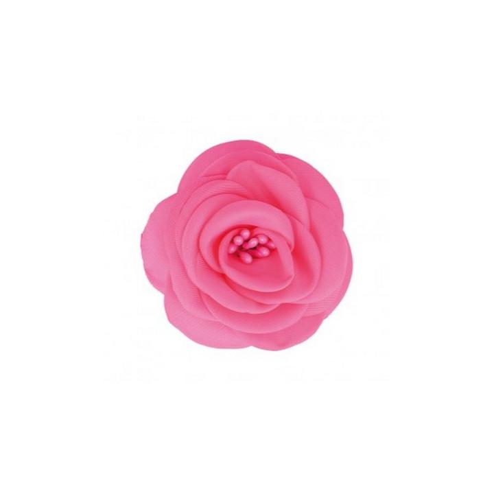 Broche fleur tissu rose