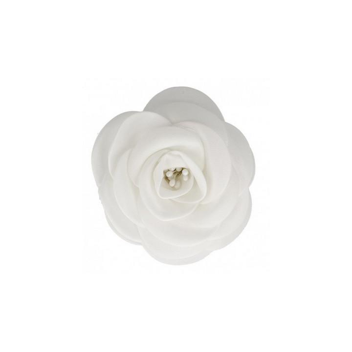 Broche fleur tissu blanche