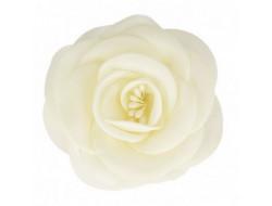 Broche fleur tissu ivoire