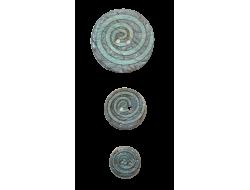 Bouton bois spirale bleu