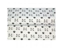 Tissu Stenzo popeline de coton imprimé chat
