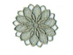 Écusson thermocollant - fleur ajouré grise