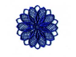 Écusson thermocollant - fleur ajouré bleu marine