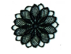 Écusson thermocollant - fleur ajouré noir