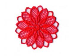 Écusson thermocollant - fleur ajouré rouge