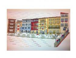 """Kit point de croix """"Maisons sur l'Agout"""""""