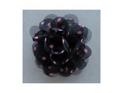 Broche fleur noir à pois rose en mousseline
