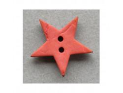 Bouton bois étoile orange