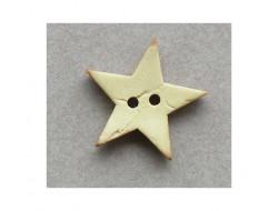 Bouton bois étoile jaune