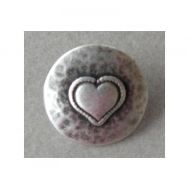 Bouton métal argent Coeur