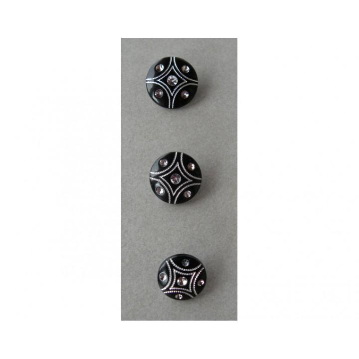 Bouton noir avec strass 15, 18 et 21 mm