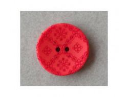 Bouton rouge sculpté petites fleurs
