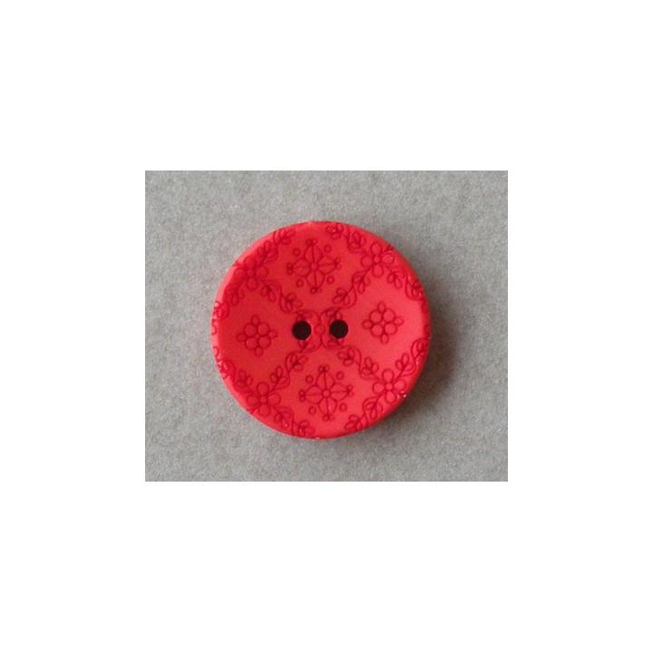 Bouton rouge 18 mm sculpté petites fleurs