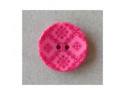 Bouton rose fushia sculpté petites fleurs