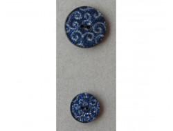 Bouton pailleté bleu arabesque argent