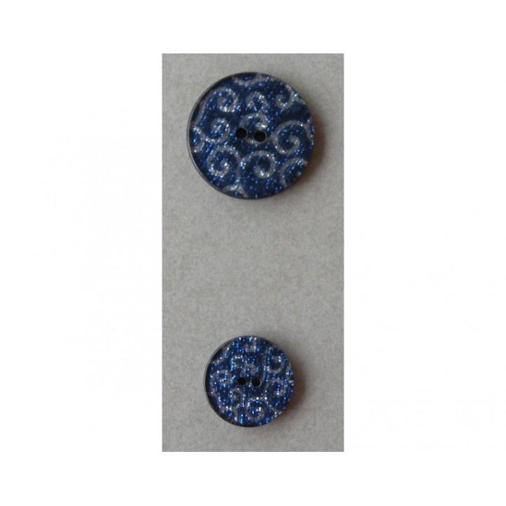 Bouton pailleté bleu arabesque argent 18 et 25 mm