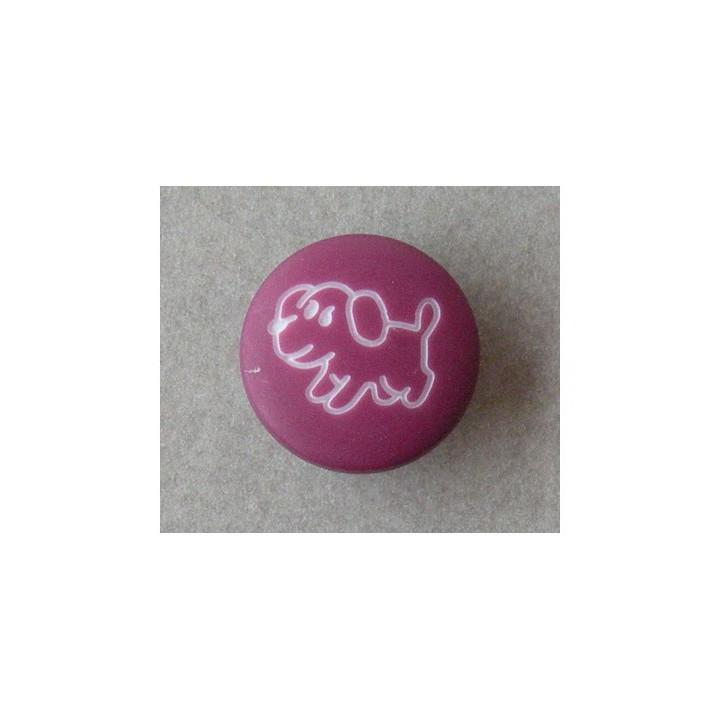 Bouton violet petit chien 15 mm