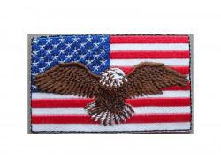 Ecusson thermocollant drapeau USA avec aigle