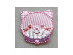 Ecusson thermocollant chat rose  sequins