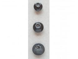 Bouton noir fleur avec strass 12, 15 et 18 mm