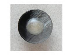 Bouton noir centre en relief blanc 16 mm