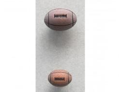 Bouton ballon de rugby marron