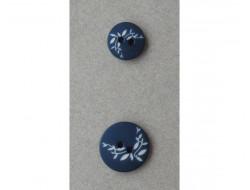 Bouton feuilles blanches sur fond Marine 11 et 15 mm