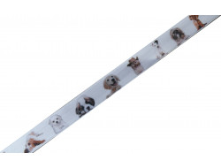 Ruban satin blanc décor chiens