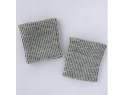 Poignets bords côtes acrylique gris clair