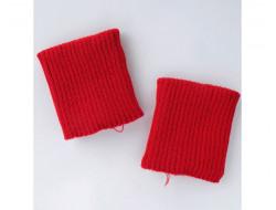 Poignets bords côtes acrylique rouge