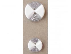 Bouton fantaisie blanc et argenté pailleté 15 et 20 mm