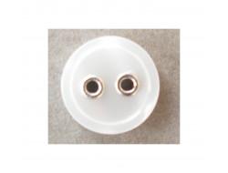 Bouton blanc oeillets métals argents 10 mm