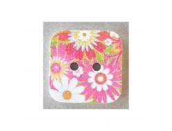 Bouton carré, fleurs sur fond rose  24 mm