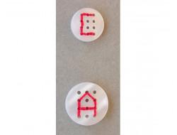 Bouton blanc à broder 18 et 23 mm