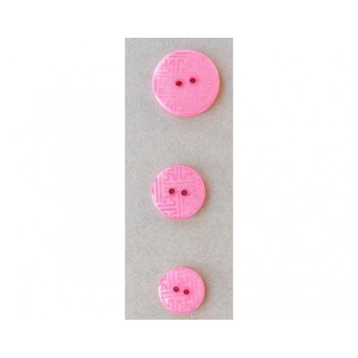 Bouton rose et argenté 15, 18 et 23 mm